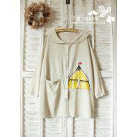 03304日系森林系娃娃领棉麻帐篷马戏团童话刺绣宽松大码连衣裙