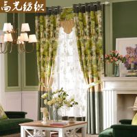 高光纺织 春季新款 美式乡村风格 涤棉印花窗帘布 加厚遮光卧室书房窗帘布