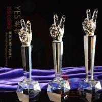 水晶现货奖杯价格 广州六角柱奖杯 音乐比赛奖品 精兴工艺