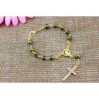宗教饰品 Rosarybeads电镀水晶念珠 十字架基督教手链速卖通热销