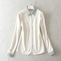2015春季新款 韩版小尖领 加厚雪纺长袖衬衫C452 0.36