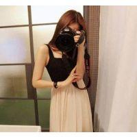 供应玛萨玛索厂家 韩国原单女装气质优雅百褶收腰无袖雪纺长裙MY2138