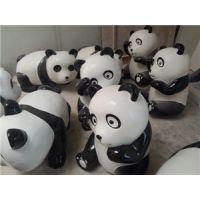 玻璃钢熊猫雕塑 园林小品景观彩绘雕塑 商场美陈装饰 卡通熊猫