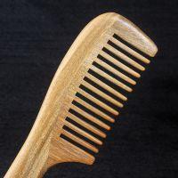 天然绿檀木梳原色无蜡保健美发有益健康防静电绿檀梳子厂家批发