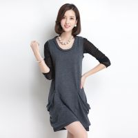 厂家直销秋季新款女式针织衫韩版纯色园领长款宽松打底衫背心女装
