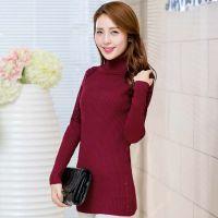 2014秋冬新款针织衫 韩版高领豹纹中长款套头修身打底衫女毛衣