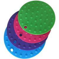 供应姝馨品牌加厚硅胶圆点隔热垫 定制镂空玫瑰碗垫 盘垫凸点杯垫