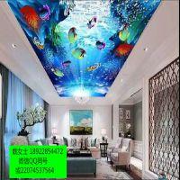 3d背景墙打印机天空图案定制天花吊顶彩绘喷墨机器浮雕印深圳厂家