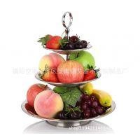 不锈钢三层水果盘 点心盘 糖果盘 多层点心架 果粒盘 酒吧盘