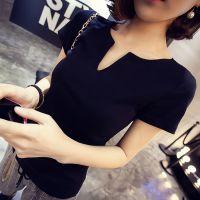 【小颖家】2015春装新款韩版纯色V领修身显瘦打底衫短袖t恤 女