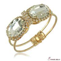 B1350速卖通镶钻大宝石奢华手镯 外贸货源饰品现货批发 水晶手环