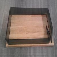 加工木底座亚克力托盘 有机玻璃茶几托盘 收纳托盘亚克力木质