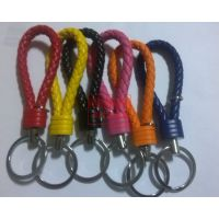 厂家多款经济实用PU编制吊绳钥匙扣 真皮皮绳钥匙扣挂件