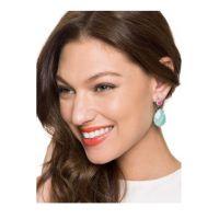 青岛饰品批发 欧美风饰品 天然绿松石耳钉 两色可选 明星同款耳环