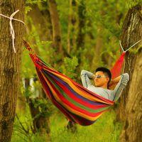 厂家批发 单双人加厚帆布吊床 送绑绳送布袋 户外休闲野营吊床