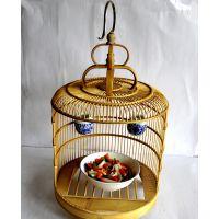 道县江桥竹藤生态酒店创意餐具厂家专业为酒店餐厅定做竹制鸟笼菜盘 鸟笼餐具