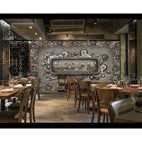 酒店背景工业金属壁纸 餐厅3D立体墙纸 酒吧无缝宣绒墙布壁画海星
