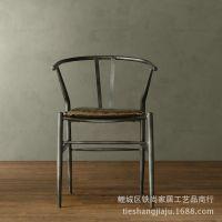 LOFT美式乡村 铁艺实木椅子 复古餐厅咖啡厅单人餐椅 办公做旧椅