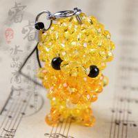 纯手工制作DIY水晶穿珠饰品 编制 可爱小黄鸭手机挂件 钥匙扣