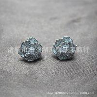 天然珍珠耳钉耳饰配件 大玫瑰花明星同款 100%S925纯银配件
