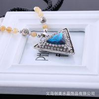 厂家直销 新款韩版水晶泰国佛珠拼接项链 毛衣链批发供应.