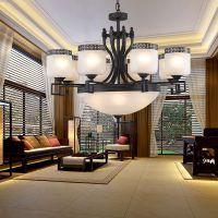 【定制】现代铁艺吊灯定做批发,简约圆形玻璃灯别墅客餐厅灯