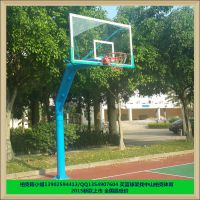 中山篮球架生产厂家 独臂式埋地篮球架安装 优质165mm圆管篮球架