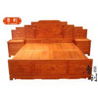 缅花大床定做红木家具价格、老红木家具价格、东阳木雕款式图