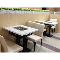 运达来定制人造石火锅桌 简约舒适餐厅桌子 大理石电磁炉火锅桌椅