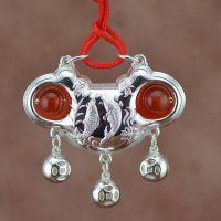 S990足银富贵有鱼纯银宝宝锁儿童玛瑙长命锁批发 情人节礼物