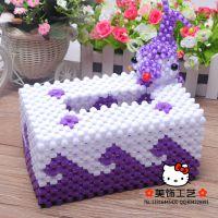 手工串珠批发  卫生纸盒  DIY手工编织 串珠工艺品 海豚长纸巾盒