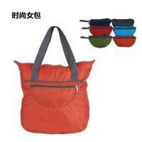 OEM定制礼品折叠包 休闲手提轻便可折叠饺子购物袋 格纹尼龙休闲包