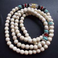 纯天然白松石108颗佛珠多圈手链批发  绿松石玛瑙藏银 男女款