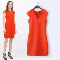 2015春夏新款欧美风ZA修身开叉连衣裙 纯色无袖短裙 DL8596