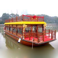 木船龙头企业定做湖北水上餐厅画舫餐饮船景区旅游客船