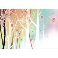 广州明途厂家批发彩绘树图案创意墙饰壁饰家居3D无缝壁画背景墙