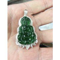 珠宝玉器订做加工 18K金翡翠观音吊坠豪华镶嵌(加工费)