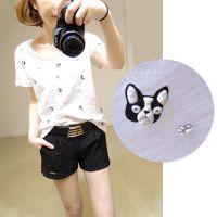 拔萝卜的小老鼠夏装新款韩版时尚修身百搭圆领舒适小狗t恤打底衫