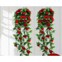 玫瑰花藤条壁挂婚庆装饰品假花仿真花藤空调管道客厅阳台吊顶装饰