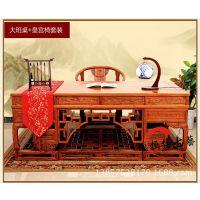 仿古书桌办公桌 明清实木家具大班桌写字台电脑桌书柜组合