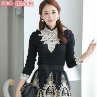 韩国实拍 秋季新款女装 韩版修身显瘦 高领绣花蕾丝打底衫