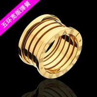 李敏镐同款宽版五环弹簧食指戒指 韩国镀18K彩金钛钢情侣对戒批发