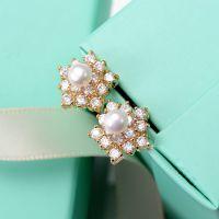 铂莉诗饰品 来自星星的你明星同款满钻五角形镶大珍珠锆石耳钉 女