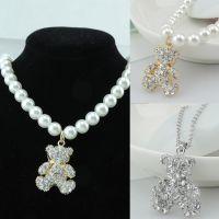 一件代发原创小熊合金珍珠吊坠毛衣链短款韩国镶钻挂件项链促销