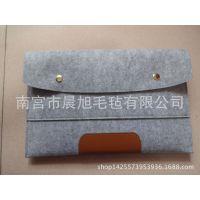 厂家直销 皮革装饰 简约干练 个性浅麻灰色平板电脑毛毡包