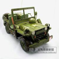 创意电影道具金属铁皮工艺仿真美军用卡车模型复古家居摆件180