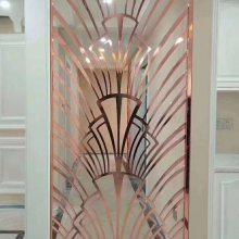 大连水镀香槟金铝板雕刻屏风 售楼部欧式雕花屏风制品厂