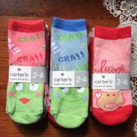 原单3双装卡特卡通人物直板毛圈防滑袜 出口美国carter's全棉