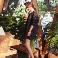 2015夏女装新款韩国东大门大V领性感露背蕾丝拼接大码连衣裙