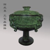 青铜器摆件春秋战国四虎豆 盛食具携带送外宾 古玩商务馈赠佳品